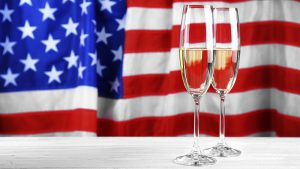 CHampagne with US Flag